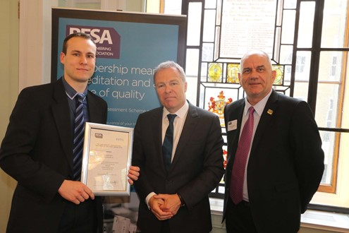 Left to right: Ann Noblett winner Stephen Kelly, Gavin Hewitt and BESA president elect Malcolm Thomson.